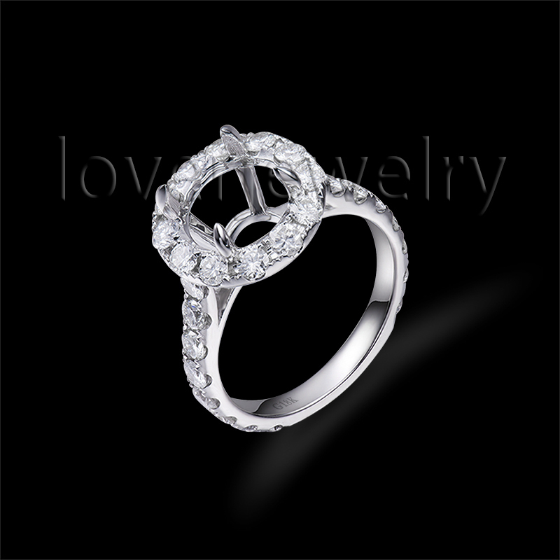 Solid 18Kt White Gold Full Cut Diamond Semi Mount Ring,Real Dia Setting Ring Mounting Round 9.5mm For Sale