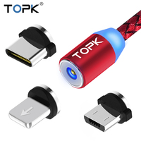 TOPK R-Line LED Magnetic Cable Micro USB & USB Type-C Cable Magnet Charger Cable For iPhone X 8 7 6 Plus USB C Phone Cables Red