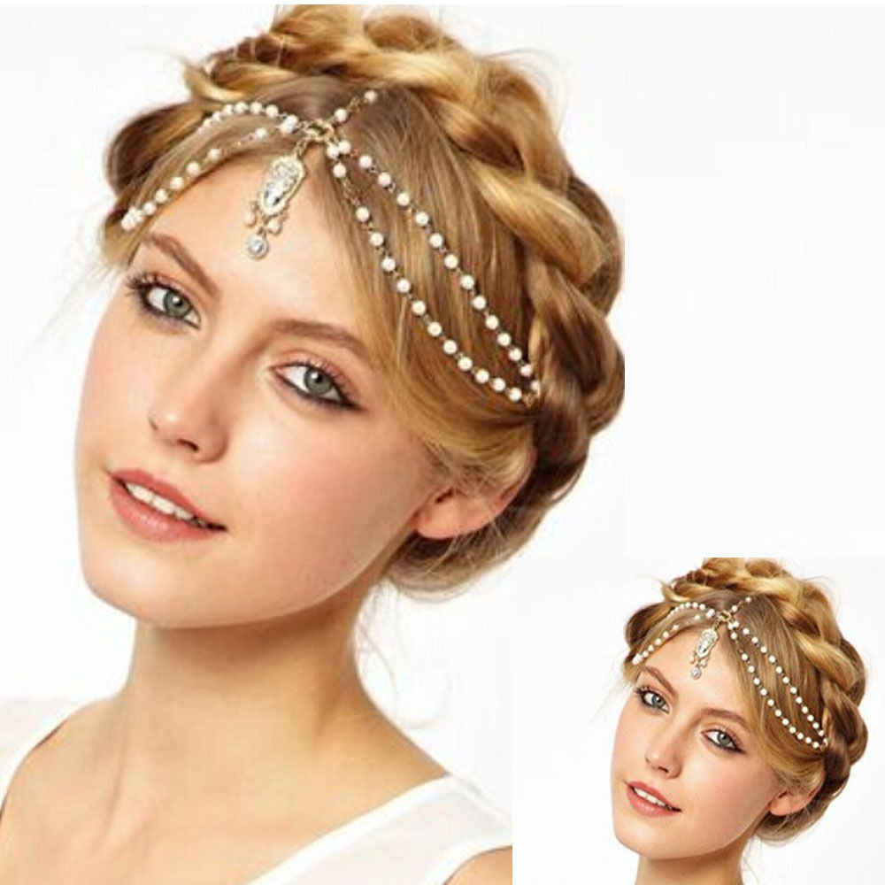 Hot moda barokowy ozdoby do włosów Indian Boho kwiat głowy łańcuch perła koraliki sukienka nakrycie głowy dla kobiet biżuteria akcesoria
