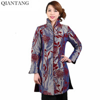 New Arrival Vintage Chinese Women's Long Sleeves Jacket Coat Chaqueta abrigo Clothing Flower Size S M L XL XXL XXXL Mny006-B