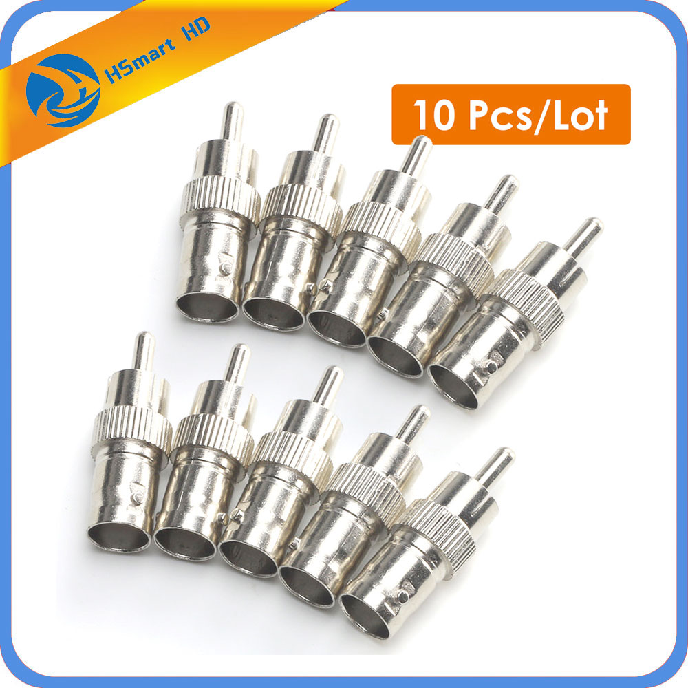 Hot 10PCS BNC Female to RCA Male Cable Connector Adapter for CCTV AHD TVI CCTV Camera Accessories System for Car Camera MDVR 5pcs cctv accessories 1m 3ft rca male cable to bnc male cord for cctv camera