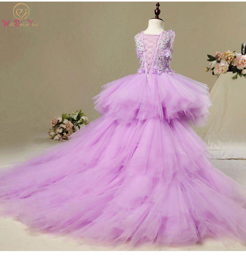 Walk Beside You Vestidos Primera Comunion Pink Purple   Flower     Girl     Dresses   Removable Train Lace Applique Sukienki Komunijne 2019