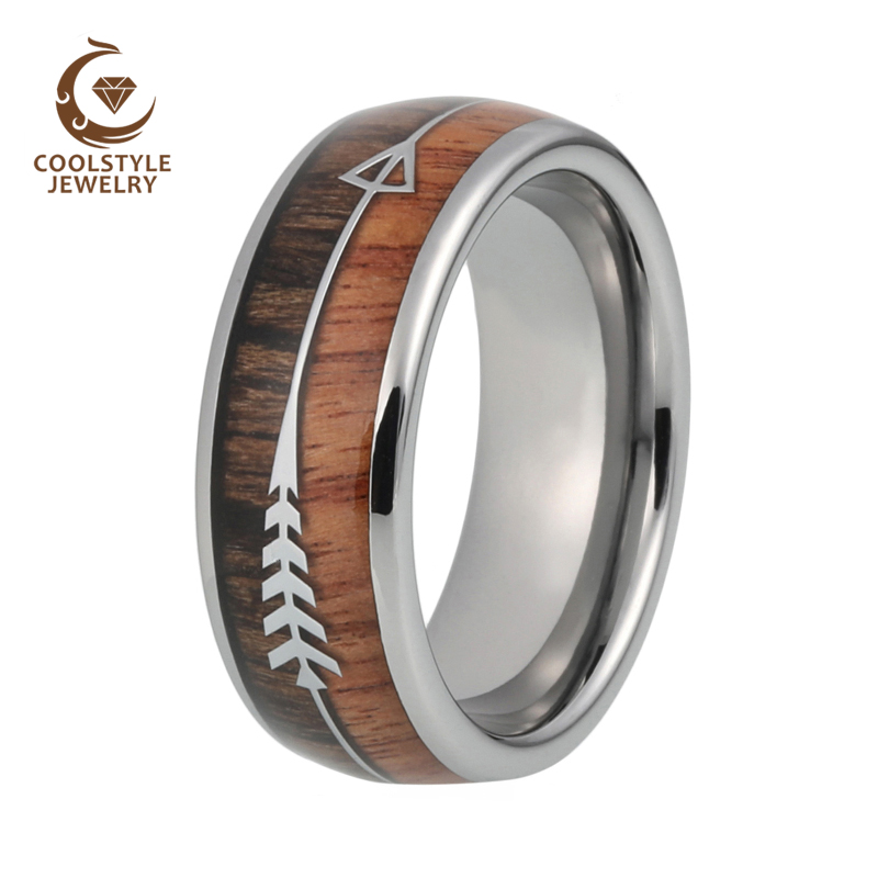 8mm Mens Tungsten Carbide Rings Womens Wedding Bands Koa Wood Arrow Inlay Domed Polished Shiny Comfort Fit 1