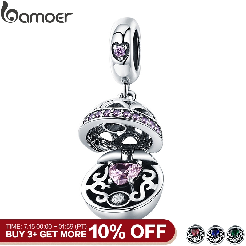 BAMOER Authentic 925 Sterling Silver Love Gift Box Dangle Ball Charm Pendant fit Women Charm Bracelet & Necklaces Jewelry SCC689(China)