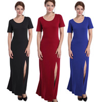 2017 Women Summer Long Classic Dress O neck Slim Long Casual Short Sleeve Dress Solid Colors Split Dresses Vestido