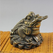 Antique bronze copper toad Lucky Cai antiques antique ornaments collectibles shop Cicada gifts home decorations  shipping