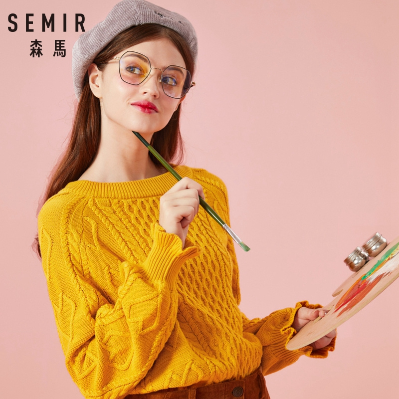 SEMIR O-Neck Knitted Sweater Women Clothing Autumn 2018 Office Ladies Jumper Long Sleeve Women Sweaters And Pullovers