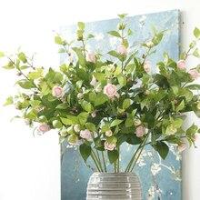 Искусственные цветы камелии чайная роза цветы искусственные для украшения дома декор стол пластиковый искусственные цветы, свадебный букет