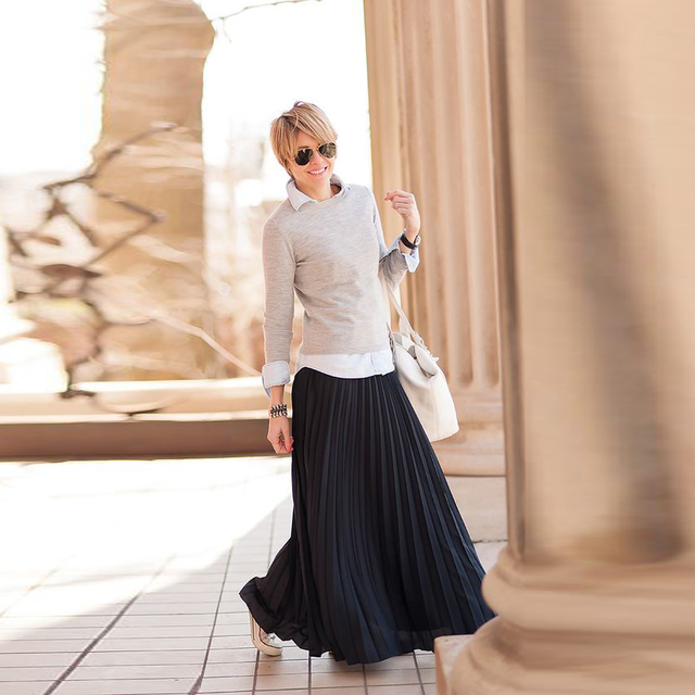 d35cd41e520b Modest Casual Skirts Women A Line Floor Length Long Maxi Skirt Trendy  Fashion Black Pleated Chiffon Skirt