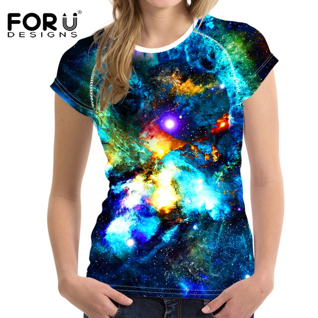 79d1fd9d4a FORUDESIGNS Women T-Shirt Crop Tops Galaxy Space Tumblr T Shirt Woman  Short-sleeved Harajuku Tshirt For Girl Roupa Feminina 2017