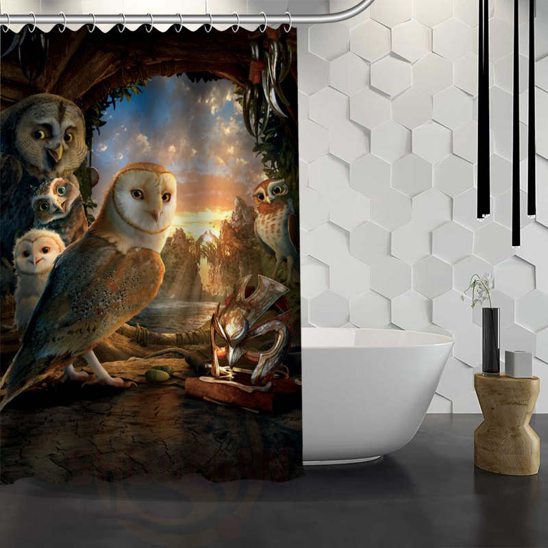 Custom Legend of the Guardians Shower Curtain With Hooks Fabric Shower Curtain for Bathroom WJY1.17