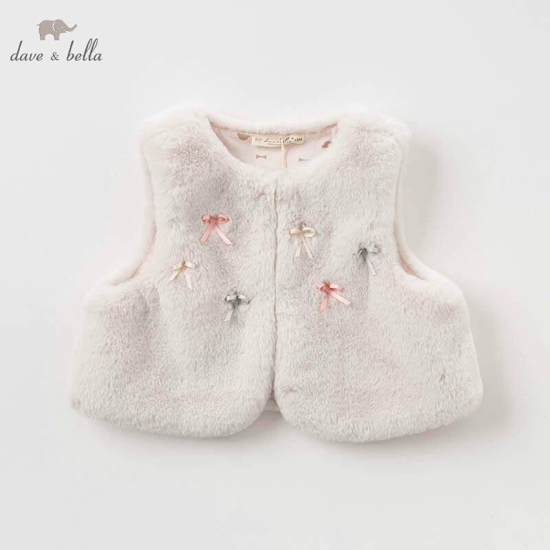 DBM7741 dave bella baby girl autumn winter vest children sleeveless coat baby fashion high quality outerwear vest rebecca bella vest