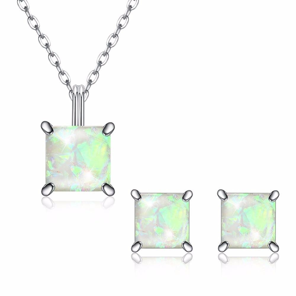 S925 Стерлинговое Серебро австрийский кристалл драгоценный камень опал ожерелье + серьги Шарм коробка цепь для женщин простой классический С