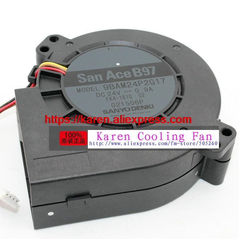 free shipping New Original SANYO 9BAM24P2G17 DC24V 0.9A 97*33MM 9CM large wind blower cooling fan delta new 9733 super large dry machine blower fan violence 12v 6a bfb1012uh 97 97 33mm