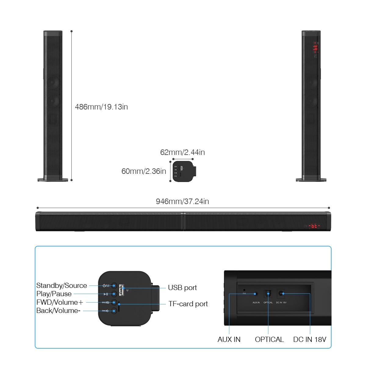 Excelvan 40 W amovible Bluetooth barre de son sans fil Bluetooth haut-parleur construit Subwoofe TV AUX optique barre de son stéréo Home cinéma - 4