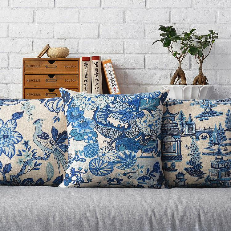 Japanese Blue And White Floral Pillow , Flowers Bird Pillow Cushion ,Linen Pillowcase,home Decorative Sofa Pillows