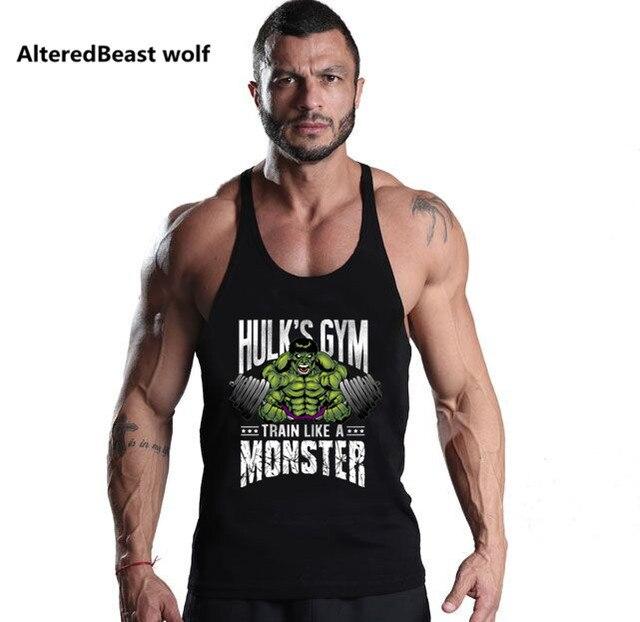 73ee0190e68 Men Brand Tank Tops Bodybuilding HULK Gyms print Fitness men Vest Stringer  Muscle Sleeveless Shirt workout Tank Top for men