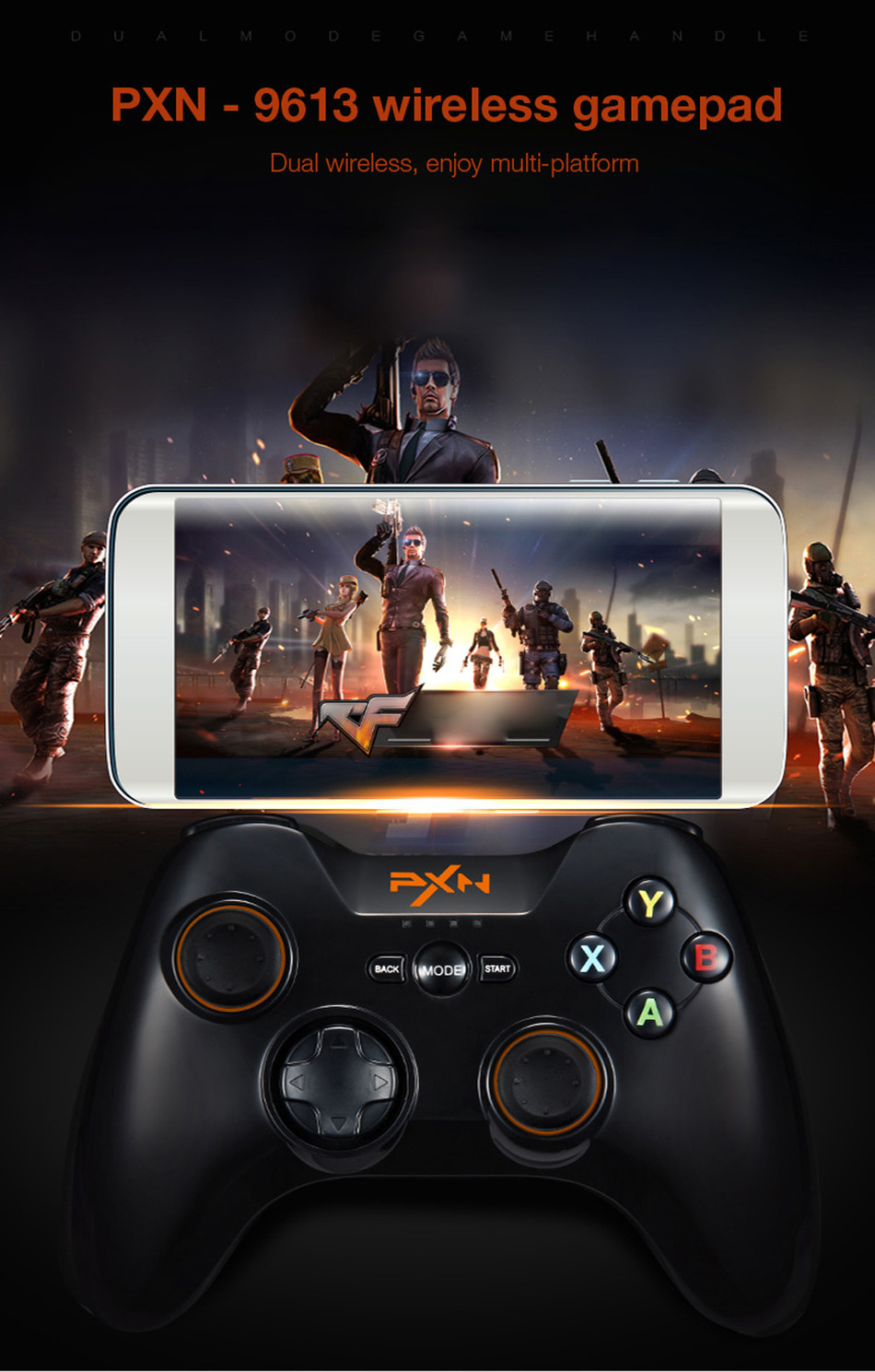 PXN - 9613 Wireless Bluetooth Game Controller Portable Handle Bracket Gamepad for PC Tablet Android Smartphone TV Box pk 9603