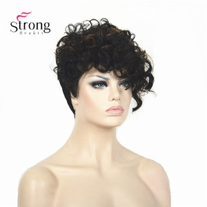 Image 2 - Short Black Highlighted Curly top Full Synthetic Wig Auburn mix Women lady wigs
