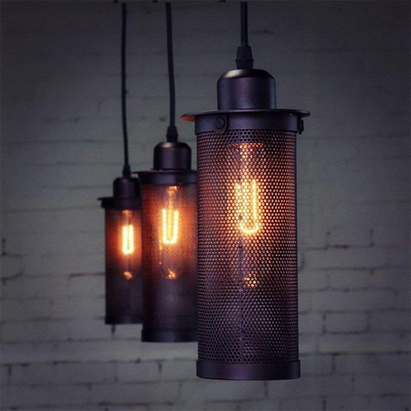 Işıklar ve Aydınlatma'ten Kolye ışıkları'de DONWEI Loft Retro Kolye Işıkları Endüstriyel Tarzı Metal Örgü Net Koridor Asılı Işık Sundurma Için bar Oturma yemek odası koridor title=