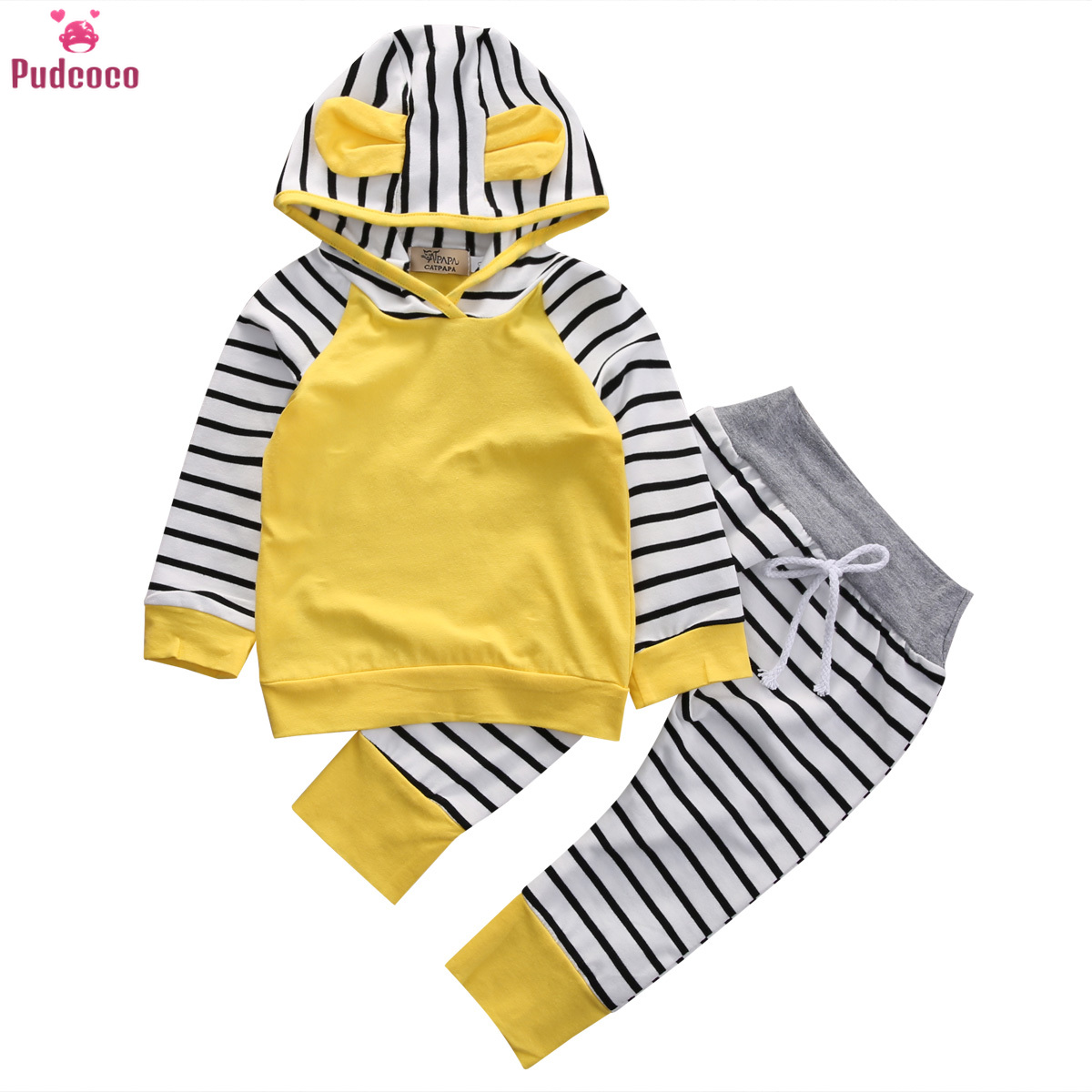 Infant Newborn Baby Boy Girl Clothes Set Striped Hooded Sweatshirt And Long Pants Outfits 2 Pieces Set Kids Clothing
