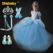 9c7d58beaa028 Filles bleu robe de bal nouveau film princesse cendrillon Cosplay Costume  fée queue enfants fête de