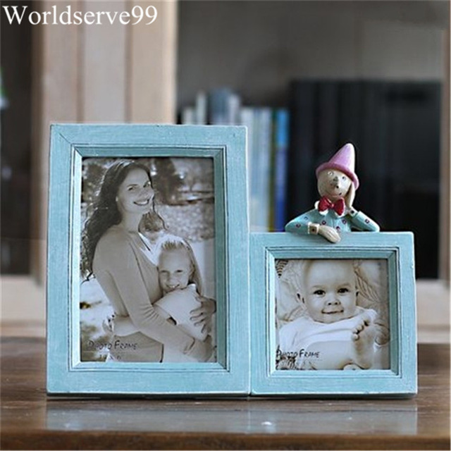 Double Frames Cute Doll Resin Baby Picture Frames Home Decor Photo ...