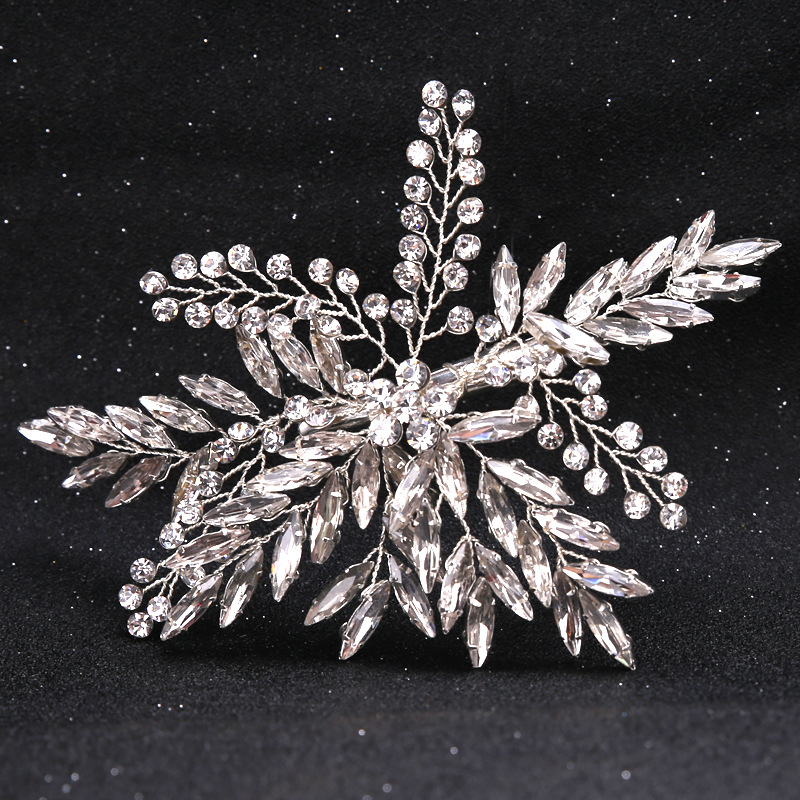 все цены на Crystal leaf hairpin Bridal hair Accessories Rhinestones Wedding Accessories hair jewelry Party Bridesmaid headpiece