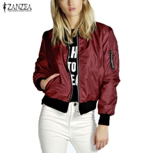 ZANZEA 2020 Spring Autumn Women Thin Jacket Tops Celeb Bomber Long Sleeve Coat Casual Stand Collar
