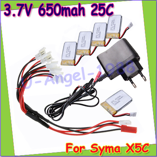 Wholesae 5x 3.7V 650mAh Battery for Syma X5 X5C X5A Quadcopter with charging cable 1 to 5 balance charging cable for SYMA X5C