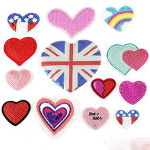 mixed loving heart patches for clothing iron on embroidered appliques sew clothes sewing accessories DIY