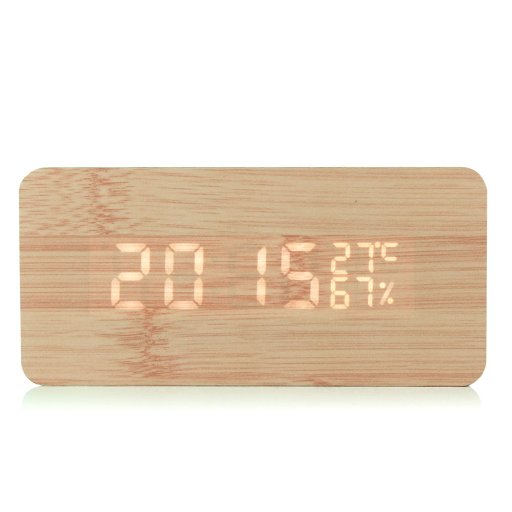 2017 New Fashion Sound Control Digital LED Wooden Rectangle Wood Grain Alarm Clock D With Temperature&Humidity Display for Home