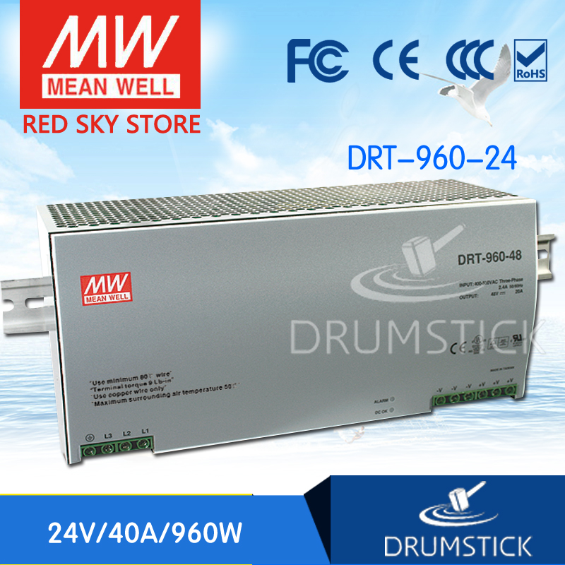 (12.12)MEAN WELL original DRT-960-24 24V 40A meanwell DRT-960 24V 960W Single Output Industrial DIN RAIL Power Supply [freeshiping 12pcs] mean well original mdr 40 24 24v 0 83a meanwell mdr 40 39 8w single output industrial din rail power supply