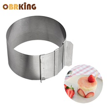 OBRKING 4 inch Stainless Steel Circular Ring Cake mold Retractable Circle Mousse Baking Tool Mold Mould Cutter