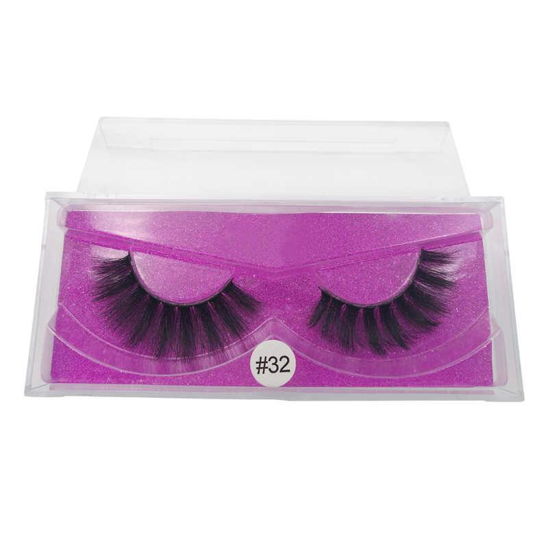 SHIDISHANGPIN 1Box 3D Nerz Wimpern Natürliche Lange Nerz Falsche Wimpern Hand Made 3D Falsche Wimpern Flauschigen Make-Up Voll Streifen wimpern