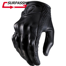 Fashion PU Leather Motorcycle Gloves Touch Screen Goatskin Real Genuine Cycling All Season Moto Glove Men Racing Motorbike