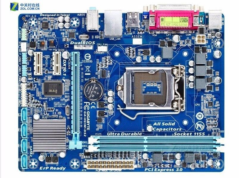 Gigabyte GA-H61M-DS2 original placa madre LGA 1155 DDR3 H61M-DS2 16 GB soporte I3 I5 I7 H61 placa base de escritorio