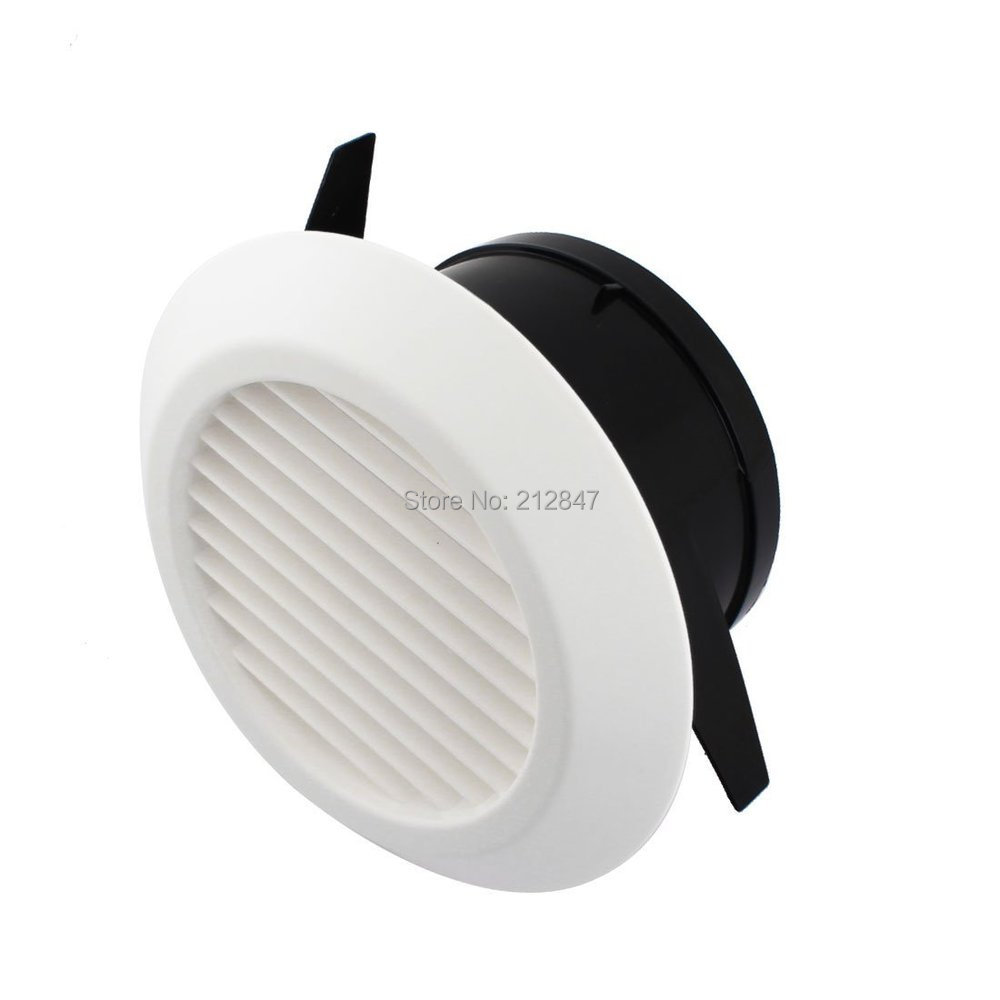 White ABS Plastic Air Vent Outlet 125mm Mounting Dia Round Louver Ventilation Grille Cover Flange