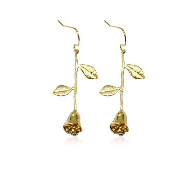 19d0677b3 Rose Flower Dangle Earring Jewelry Accessories Fashion Style Queen Women  Friend BFF Bridesmaid Wedding Earrings Valentine's Day