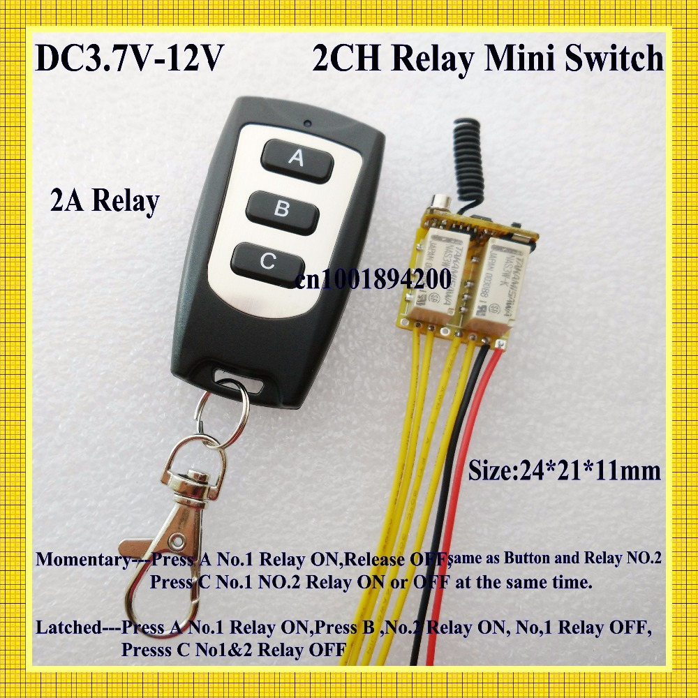 Dc 37v 12v Wide Voltage Range Mini Relay Receiver Transmitter Micro No Nc Contacts Remote Switch 2ch Latched Momentary Master On Off Rx In Switches From Lights