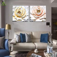 JHLJIAJUN Canvas Painting Lotus 3D Print Frame Wall Art Poster For Living Room Home Decor Poster Bedroom Oil Paintings Ornament