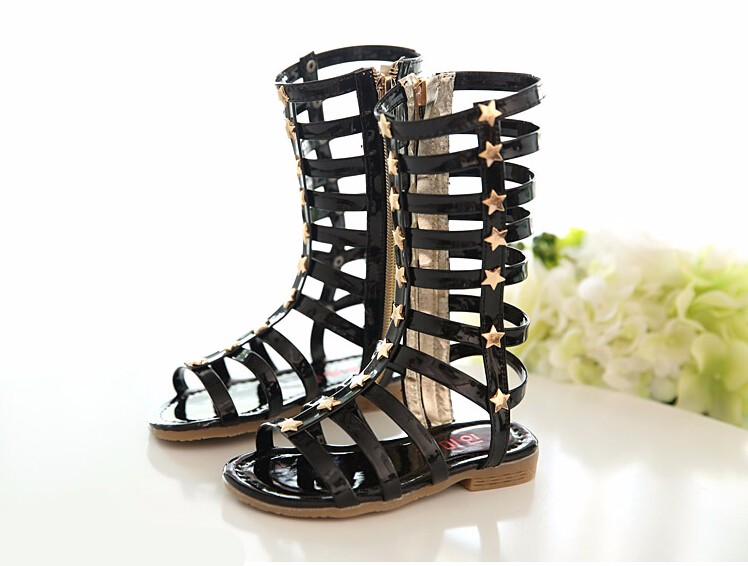 New Summer Girls High Rome Shoes Rivets Sandals Fashion Kids Cutout Sandals For Girl Zip Gladiator