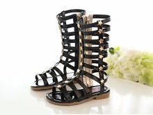 New Summer Girls High Rome Shoes Rivets Sandals Fashion Kids Cutout Sandals For Girl Zip Gladiator Sandals