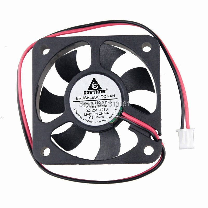 Купить с кэшбэком 10pcs/lot Gdstime 2Pin 5cm Brushless Cooling Fan 50x50x10mm 12V DC Cooler 50mm
