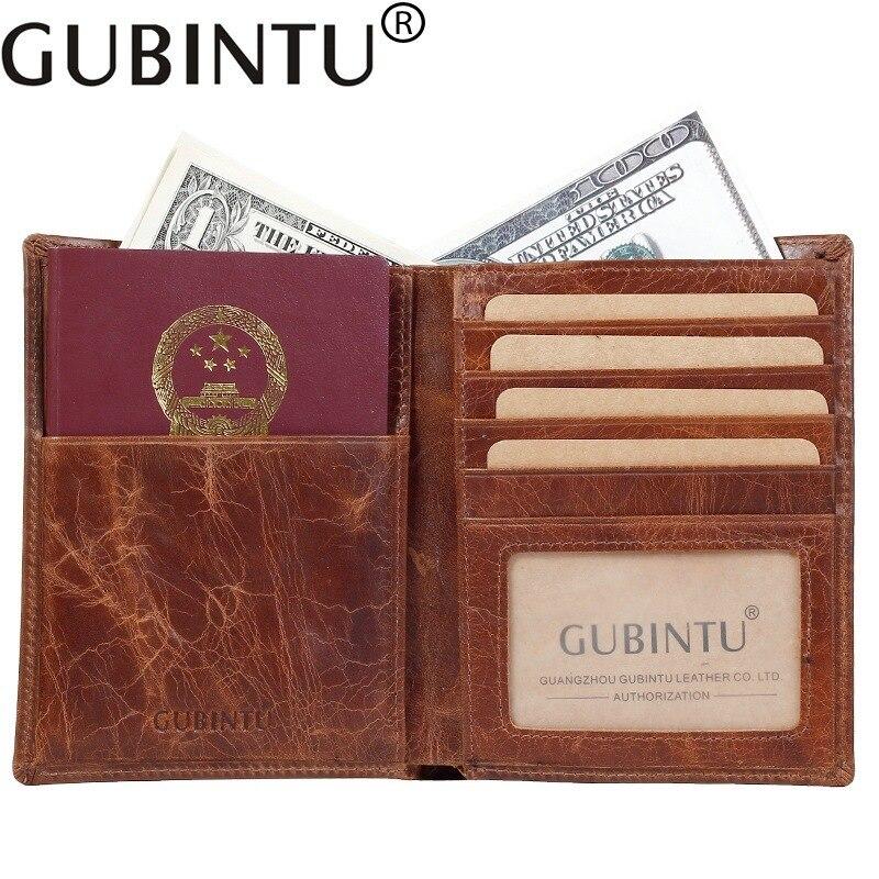 GUBINTU Genuine Leather Passcard Pocket Passport Cover Cowhide Quality Vintage 2 Folds Documents ID Credit Card Holder Wallets