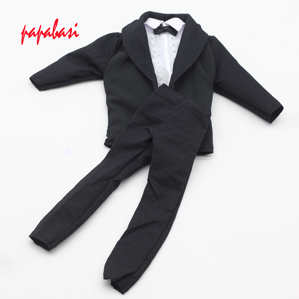 3in1 Handmade Formal Business Suits Tuxedo Black Coat White Shirt Bowknot Pants For Barbie Friend Ken