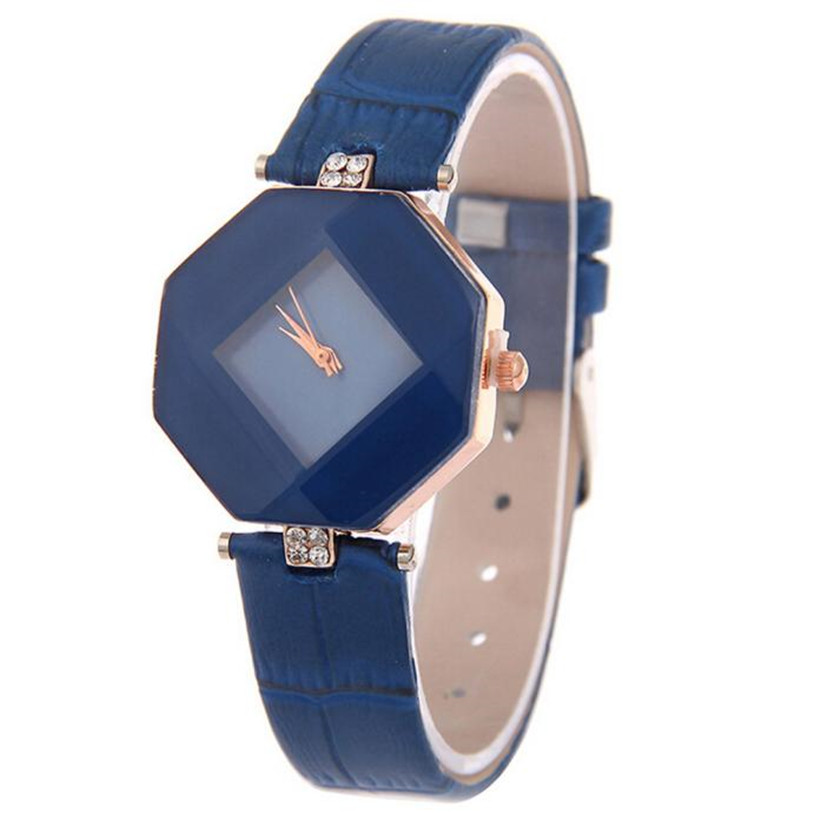 High-Quality 2017 New 5color jewelry Watch Fashion Gift Table Women Watches Jewel gem cut black geometry quartz wristwatches 3*