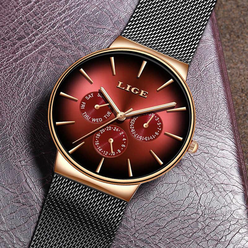 2019 LIGE décontracté mince maille ceinture mode Quartz or montre hommes montres Top marque de luxe Sport étanche horloge Relogio Masculino