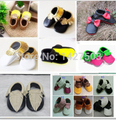 New gold pink  mixed colors fringe Genuine Leather Baby Moccasins bow soft Baby Shoes First Walker Chaussure Bebe newborn shoes