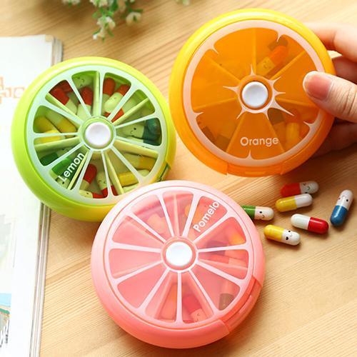 7 Days Pill Storage Weekly Fruit Round Boxes Medicine Organizer Container Case